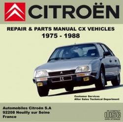 Citroen CX workshop parts manual 1975/1988 Citroën