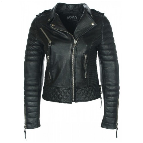 Vintage Ladies Leather Quilted Biker Jacket