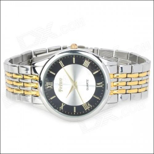FeiWo 8066G Men's Stainless Steel Band Analog Quartz Wrist Watch (1 x 377)